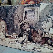 Картины и панно ручной работы. Ярмарка Мастеров - ручная работа Панно-столешница деревянная_Алиса в стране чудес. Handmade.