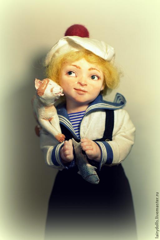 Коллекционные куклы ручной работы. Ярмарка Мастеров - ручная работа. Купить Юнга+подставка в подарок. Handmade. Синий, костюм, рыбалка, пластик