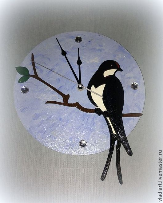 """Часы для дома ручной работы. Ярмарка Мастеров - ручная работа. Купить Настенные часы """"Ласточка касаточка"""". Handmade. Голубой, стразы"""
