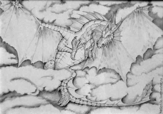 """Фэнтези ручной работы. Ярмарка Мастеров - ручная работа. Купить """" В облаках"""". Handmade. Чёрно-белый, дракон, рисунок"""