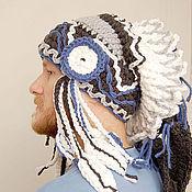 Аксессуары ручной работы. Ярмарка Мастеров - ручная работа шапка роуч - Шаман в синим. Handmade.