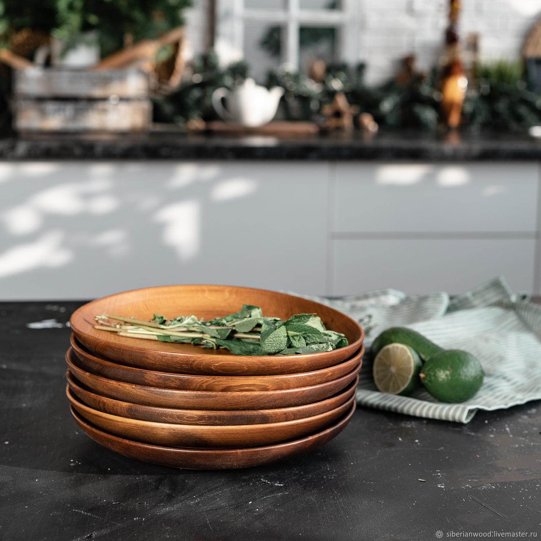 Set of wooden plates made of Siberian Cedar 205 mm TN48, Dinnerware Sets, Novokuznetsk,  Фото №1