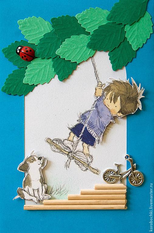 """Открытки на все случаи жизни ручной работы. Ярмарка Мастеров - ручная работа. Купить Открытка """"Детство"""". Handmade. Синий, велосипед"""