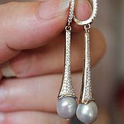 Украшения handmade. Livemaster - original item Earrings with cubic Zirconia and Baroque pearls. Handmade.