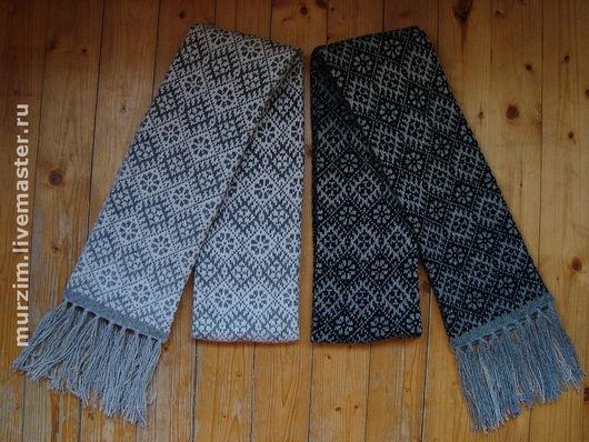 Шарфы из неокрашенной натуральной шерсти, длина - 1,8 м., ширина - ок.15 см. Такой шарф - прекрасное дополнение к любому, даже самому изысканному пальто, надо только постараться правильподобрать узор.