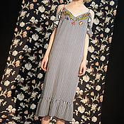 Одежда ручной работы. Ярмарка Мастеров - ручная работа Платье голубое в полоску Lipa. Handmade.