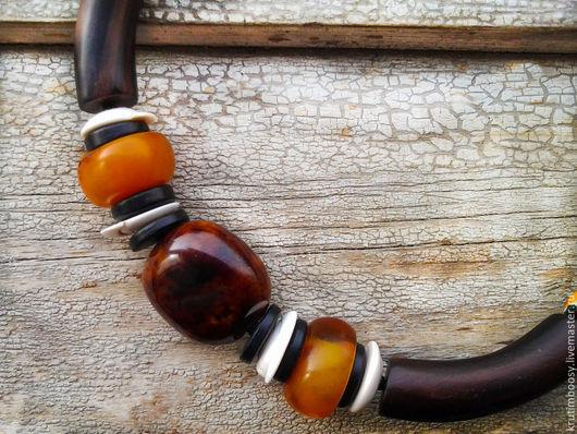 """Колье, бусы ручной работы. Ярмарка Мастеров - ручная работа. Купить Ожерелье """"Матамба"""". Handmade. Этнический, ожерелье, рыжий"""