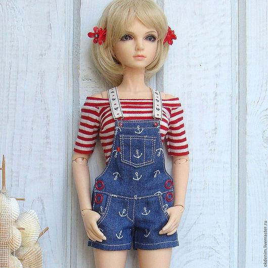 Одежда для кукол ручной работы. Ярмарка Мастеров - ручная работа. Купить Одежда для кукол БЖД Комплект Аромат моря комбинезон джинса топ. Handmade.