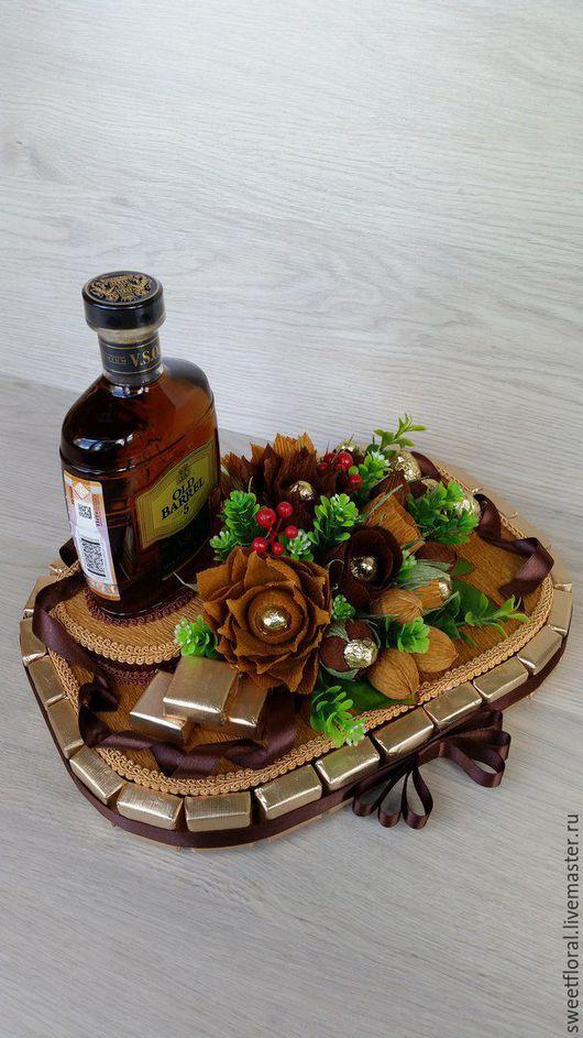 Букеты ручной работы. Ярмарка Мастеров - ручная работа. Купить Оформление бутылки ,  подарок. Handmade. Комбинированный, сладкий сувенир