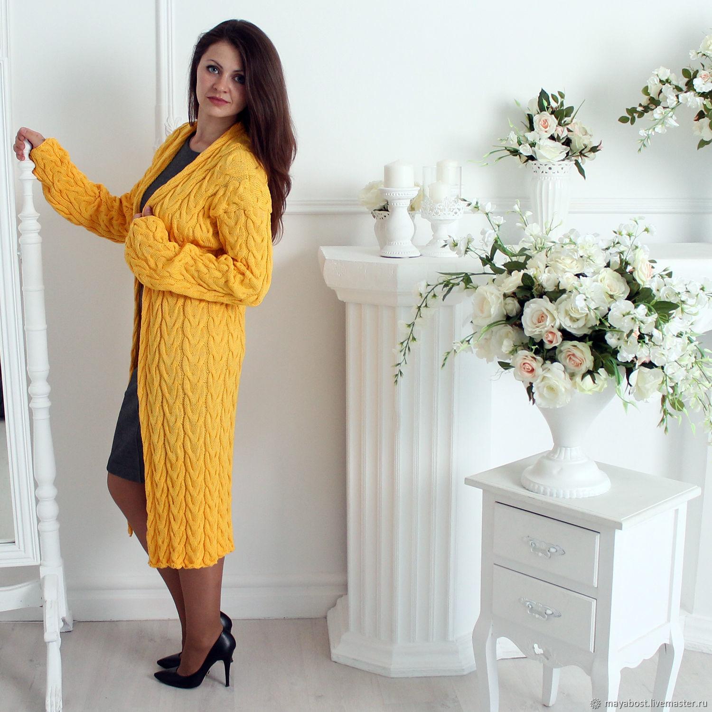 2ed9a54292e4 Желтый длинный кардиган косами из хлопка Вязаное пальто араны – купить в ...