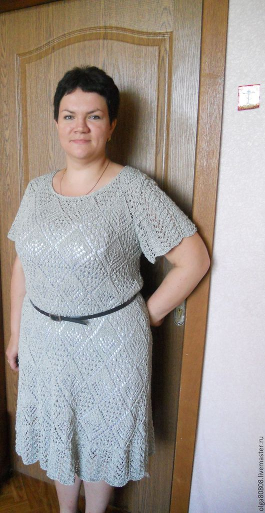 Большие размеры ручной работы. Ярмарка Мастеров - ручная работа. Купить платье вязаное с узором из ромбов и ажурной каймой. Handmade.