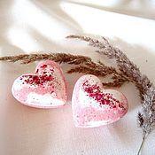 """Бомбочки для ванны ручной работы. Ярмарка Мастеров - ручная работа Бомбочки для ванны Premium """"Земляника"""", шебби, сердце, розовый, белый. Handmade."""