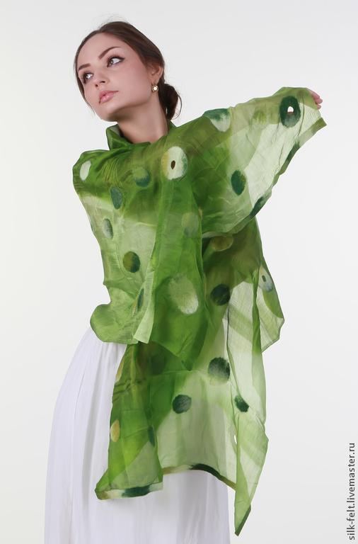 """Шарфы и шарфики ручной работы. Ярмарка Мастеров - ручная работа. Купить шарф шелк+войлок """"цвет лета"""". Handmade. Зеленый, шарф"""