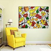 Картины и панно handmade. Livemaster - original item Bright picture of flowers in a stained glass style. Handmade.