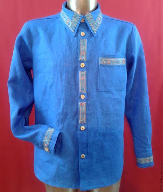 """Для мужчин, ручной работы. Ярмарка Мастеров - ручная работа. Купить Рубашка""""Синий лен с тесьмой"""". Handmade. Синий, отделка одежды"""