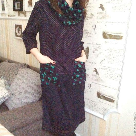 """Платья ручной работы. Ярмарка Мастеров - ручная работа. Купить Платье трикотажное """" Кони """"+ шарф. Handmade."""