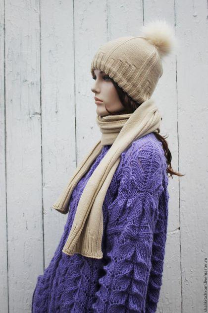 Шарфы и шарфики ручной работы. Комплект шапка и шарф с помпоном Беж. Кардиганы FDesign, шали. Ярмарка Мастеров. Комплект вязаный