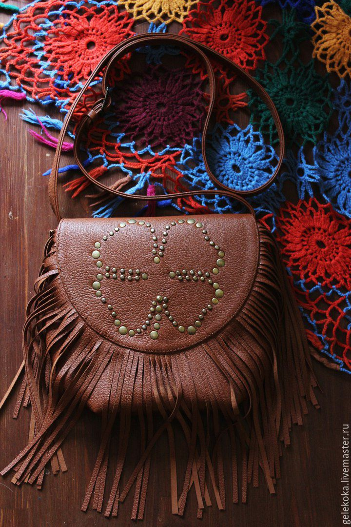 Bag genuine leather 'Clover. With fringe', Classic Bag, St. Petersburg,  Фото №1
