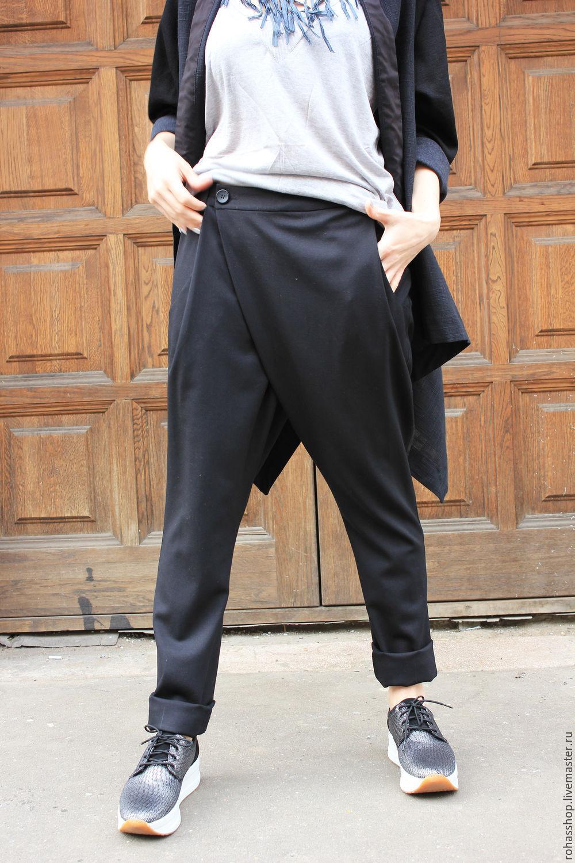 50aeeacfe5f946 ... R00061 Брюки черные на запах свободные стиль красивая одежда дизайнерские  брюки с мотней дизайнерские брюки свободные ...