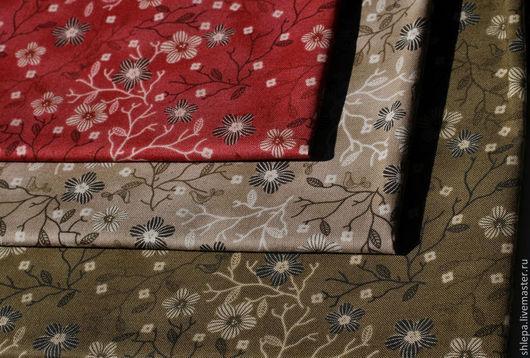 Шитье ручной работы. Ярмарка Мастеров - ручная работа. Купить Ткань для пэчворка Basic. Handmade. Красный, цветы, цветочный узор