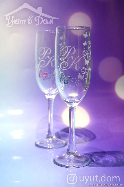 Glasses with initials (design Extravaganza), Wedding glasses, Dimitrovgrad,  Фото №1