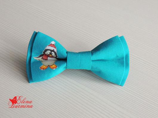 Галстуки, бабочки ручной работы. Ярмарка Мастеров - ручная работа. Купить Бабочка галстук с пингвином, хлопок. Handmade. Бирюзовый, рисунок