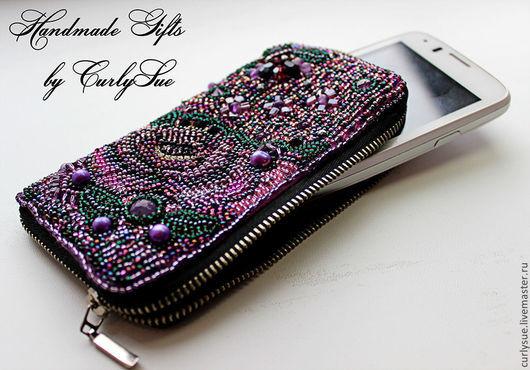 """Для телефонов ручной работы. Ярмарка Мастеров - ручная работа. Купить Чехол для IPhone или Samsung """" Райский сад """" вышивка бисером. Handmade."""