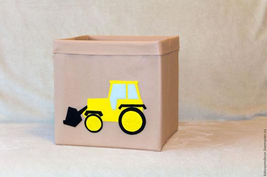 Детская ручной работы. Ярмарка Мастеров - ручная работа. Купить Коробка для игрушек с фетровой аппликацией. Handmade. Бежевый, для детей