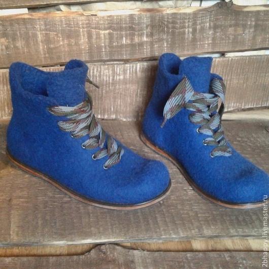 Обувь ручной работы. Ярмарка Мастеров - ручная работа. Купить Валяные ботинки Ultra Blue. Handmade. Тёмно-синий