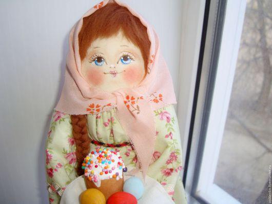 Народные куклы ручной работы. Ярмарка Мастеров - ручная работа. Купить Пасхальная кукла Марфинька с куличиком.. Handmade. Салатовый