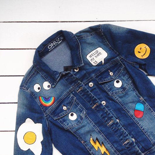 Верхняя одежда ручной работы. Ярмарка Мастеров - ручная работа. Купить джинсовая куртка. Handmade. Куртка с рисунком, джинсовая куртка