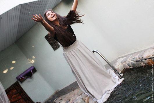 """Юбки ручной работы. Ярмарка Мастеров - ручная работа. Купить Длинная юбка с кружевом """"Нимфа"""", в пол. Handmade. Однотонный"""