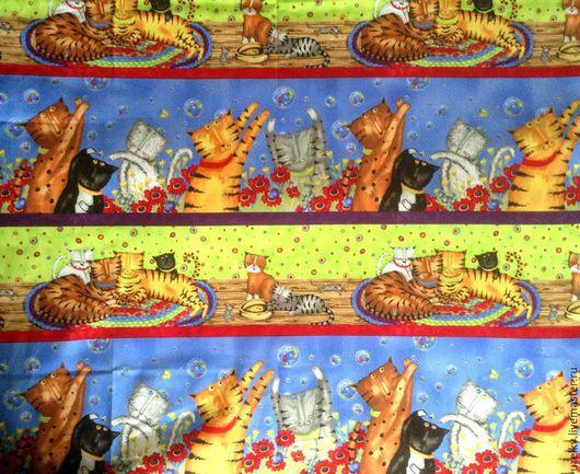 """Шитье ручной работы. Ярмарка Мастеров - ручная работа. Купить Ткань хлопок """"Сумашедшие коты"""" / 25116 MUL1 /. Handmade."""