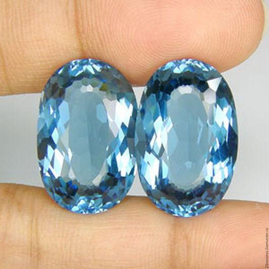 Для украшений ручной работы. Ярмарка Мастеров - ручная работа. Купить 42.10  топаз голубой...LONDON BLUE...с отверстиями.... Handmade.