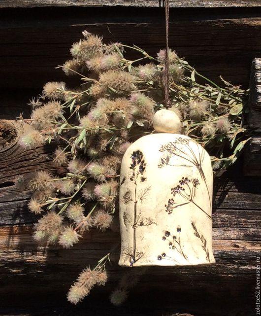 Колокольчики ручной работы. Ярмарка Мастеров - ручная работа. Купить Колокольчик Травы керамика. Handmade. Чёрно-белый, коровье ботало