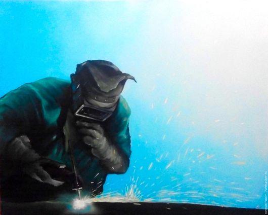 Люди, ручной работы. Ярмарка Мастеров - ручная работа. Купить Сварщик (промышленный минимал). Handmade. Тёмно-синий, газовый работник