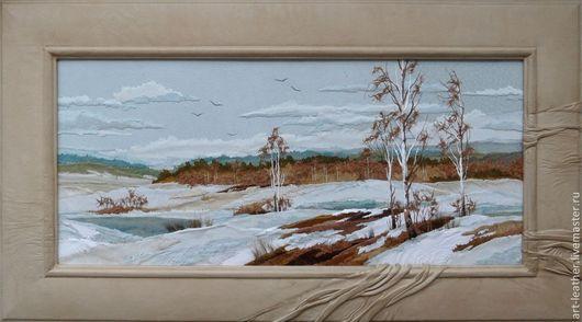 """Пейзаж ручной работы. Ярмарка Мастеров - ручная работа. Купить картина из натуральной кожи """"Еще в полях белеет снег..."""". Handmade."""