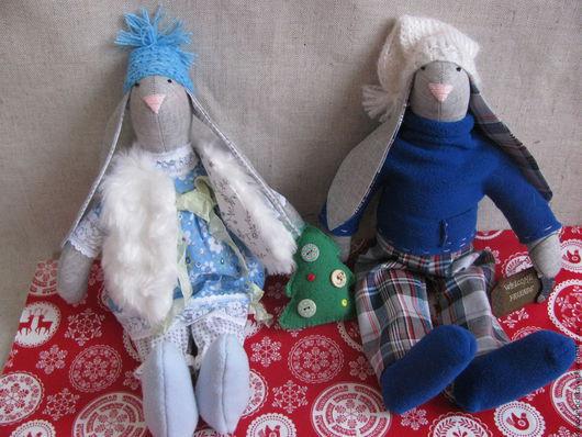 Коллекционные куклы ручной работы. Ярмарка Мастеров - ручная работа. Купить Новогодние зайки (зайцы в стиле Тильда). Handmade. Синий