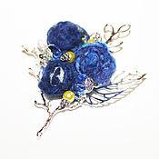 Украшения ручной работы. Ярмарка Мастеров - ручная работа Брошь на веточке Южная ночь синяя. Handmade.