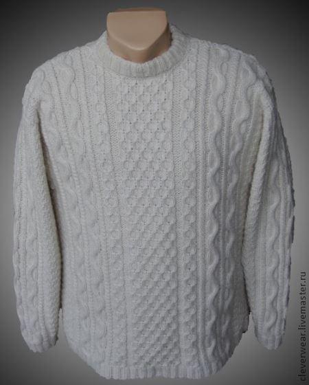 """Свитер мужской - модель """"Белый странник"""" (Fionnghall), Сleverwear"""