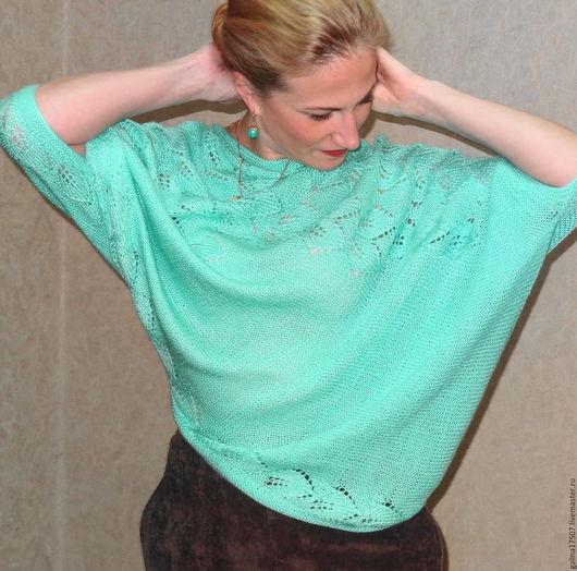 Кофты и свитера ручной работы. Ярмарка Мастеров - ручная работа. Купить Вязаный пуловер с драпировкой. Handmade. Морская волна, необычный