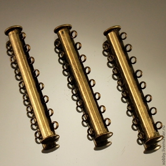Магнитная замок застежка типа Слайдер для бижутерийных украшений на 8 нитей бус или бисера цвета бронзы