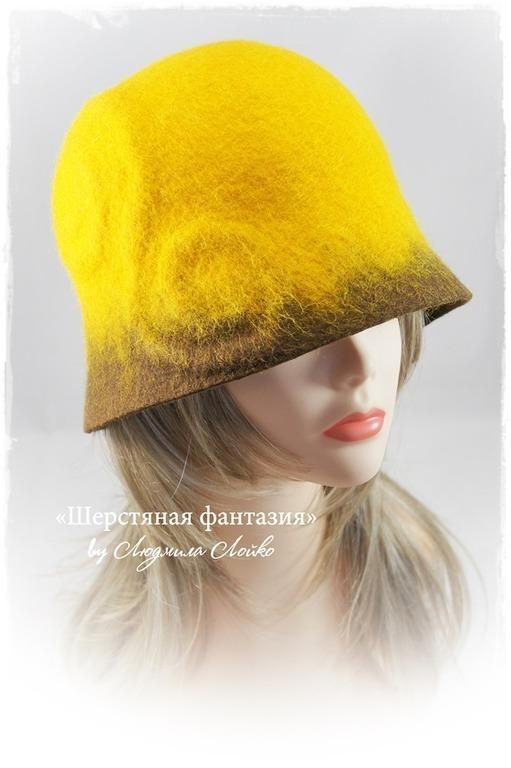 """Шляпы ручной работы. Ярмарка Мастеров - ручная работа. Купить Шляпка-клош  """"Шафран"""". Handmade. Оранжевый, шляпка валяная"""