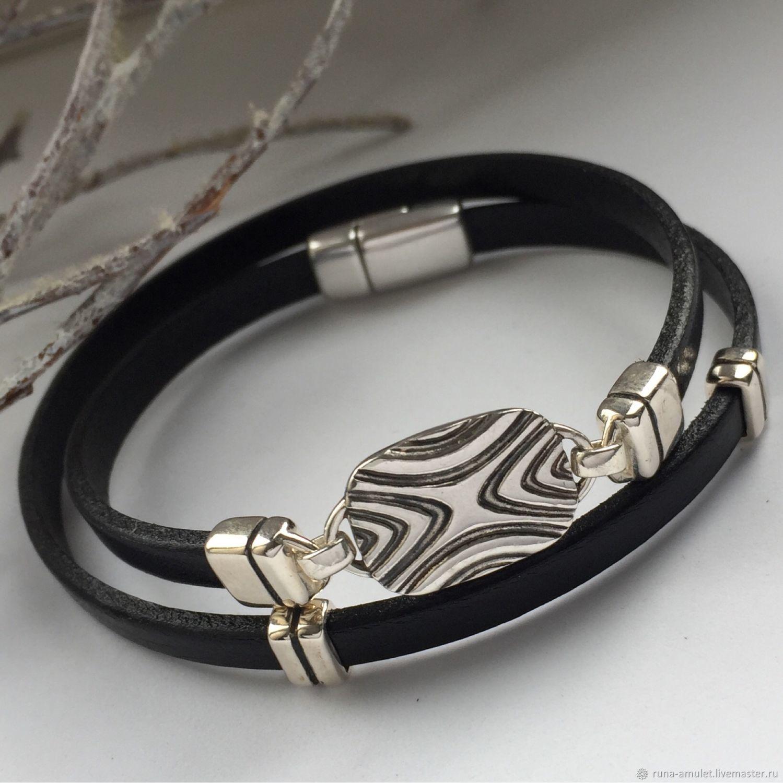 6f2ff5ad7efac9 Bracelets handmade. Order Bracelet with rune Dagaz, silver, leather, runic  bracelet reversible ...