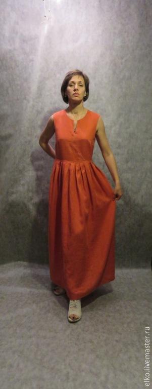 """Платья ручной работы. Ярмарка Мастеров - ручная работа. Купить Летнее льняное платье """"Золотая веточка"""". Handmade. Рыжий, золотая"""