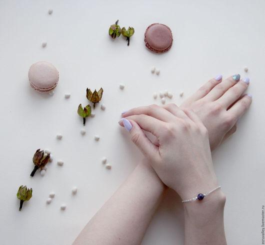 Браслеты ручной работы. Ярмарка Мастеров - ручная работа. Купить Браслет с одним камнем. Handmade. Комбинированный, браслет на ногу, гранат