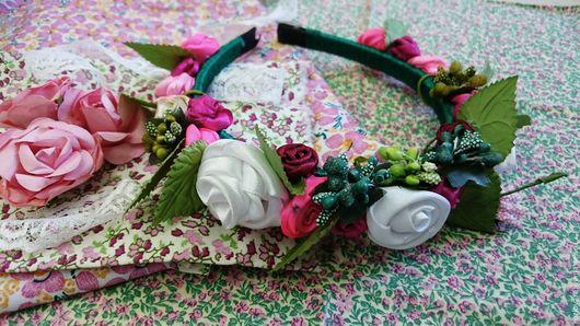 """Диадемы, обручи ручной работы. Ярмарка Мастеров - ручная работа. Купить Ободок """"Дивные розы"""". Handmade. Тёмно-зелёный, цветы"""