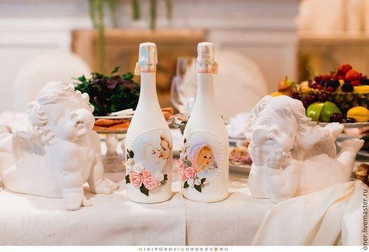 """Свадебные аксессуары ручной работы. Ярмарка Мастеров - ручная работа. Купить По мотивам """"Luxury"""" оформление свадебного шампанского. Handmade."""