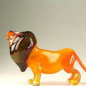 Для дома и интерьера handmade. Livemaster - original item Figurine made of colored glass the Faithful lion. Handmade.
