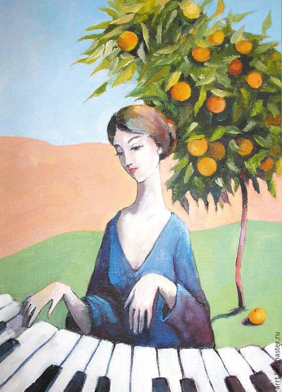 Piano and tangerine tree. Sicily. POSTCARD, Cards, St. Petersburg,  Фото №1
